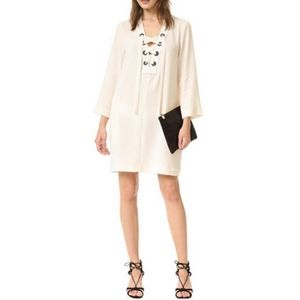 L BCBGMaxAzria Tonya Lace Neck Crepe Shift Dress